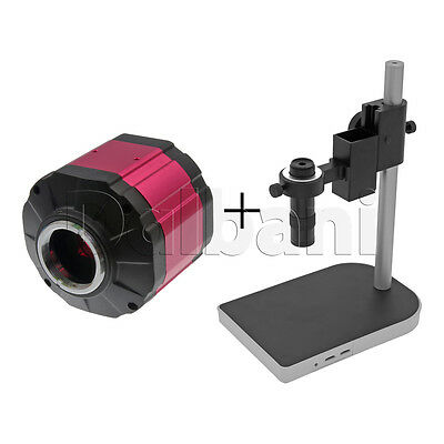 New Digital Microscope Camera Body with Stand and Lens 2MP Pink C-Mount VGA