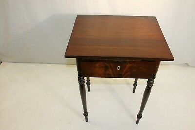 Antique Early American Mahogany Night Side Table, One Drawer, 19th C.