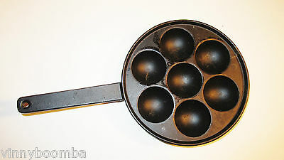 Vintage Cast Iron Egg Poacher Pan 7.5 Inches Round Number 3 On Bottom Nice !!