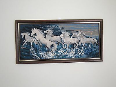 Large Beautiful Vintage Wild White Horses Framed Needlepoint Tapestry 1980's