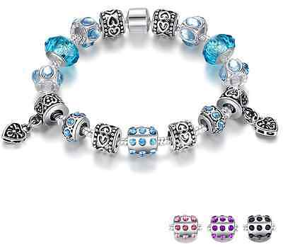 Silver Crystal Charm Bracelet Woman With Blue Murano Glass Beads Jewelry Gift