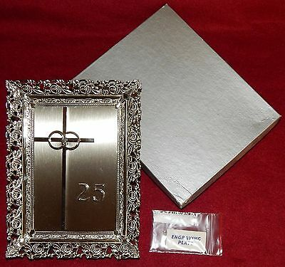 "'Silver' 25th Anniversary Frame {5"" x 7""} with 6"" Cross & Rings - New"