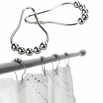 2/5/10Pc Stainless Steel Polished Chrome Rolling Shower Curtain Rings Duty Hooks