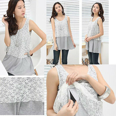 Sleeveless Top Shirt Nursing Breastfeeding Lace Block Gray Comfy Elegant 13051