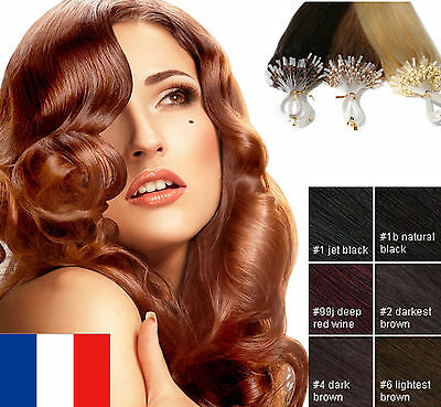 25 50 100 200 Cheveux Extensions A Froid Easy Loop 100% Naturels Remy Micro Ring