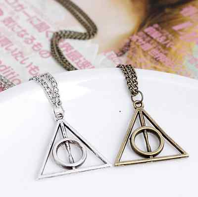 New Death Hallows Antique Bronze/Silver Triangle Pendant Retro Necklaces Chain