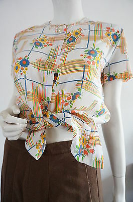 chemise Vintage 70 T 40 chemisier top VTG seveNTIES Kitch  Hippie