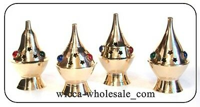 "Lot of 4 Assorted Brass & Stones Censer Incense Charcoal Cone Resin Burner (4"")"
