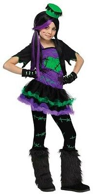 Girls Frankenstein + Tights & Hat Halloween Fancy Dress Costume Outfit 4-12 yrs