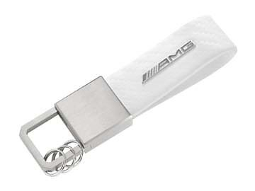Genuine Mercedes-Benz Stainless White AMG Carbon Leather Keyring B66953849 NEW
