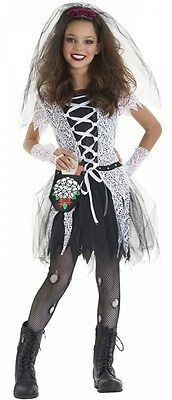 Girls 4 Piece Gothic Dead Bride Halloween Fancy Dress Costume Outfit 4-12 years