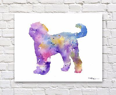 Goldendoodle Abstract Watercolor Painting Art Print by Artist DJ Rogers