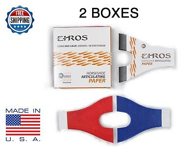 HORSESHOE ARTICULATING PAPER RED/BLUE COMBO  12 Books = 144 Sheets MADE IN USA
