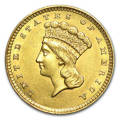 $1 Indian Head Gold Coin - Type 3 - Random Year - Almost Uncirculated