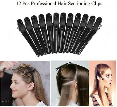 12 x BLACK MATTE HAIRDRESSER HAIRDRESSING SECTIONING HAIR CLIP SALON CLAMP (NEW)