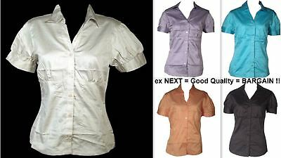Womens Shirt Blouse Short Sleeve Cotton Sateen Smart Fitted Office Business