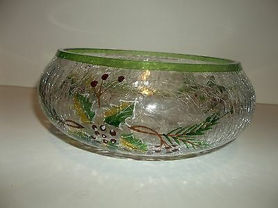Murano Christmas Centerpiece Crackle Glass Bowl Clear Green Red  T49