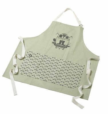 Cotton Sage Green ' Love to Grow' Apron with Pockets, for Garden or Kitchen