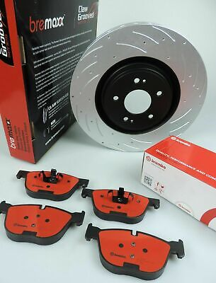 BREMBO brake pads & BREMAXX SLOTTED new disc rotors FRONT for BMW X5 E70 X6 E71
