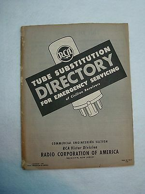 Original RCA Tube Substitution Directory For Emergency Servicing Booklet 1944