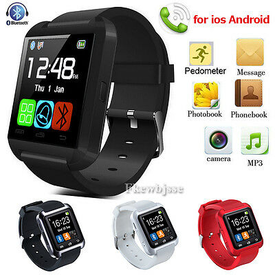 Bluetooth Smart Wrist Watch Relojes inteligent para iPhone Android Samsung Negro
