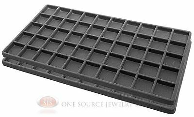 2 Gray Insert Tray Liners W/ 50 Compartments Drawer Organizer Jewelry Displays
