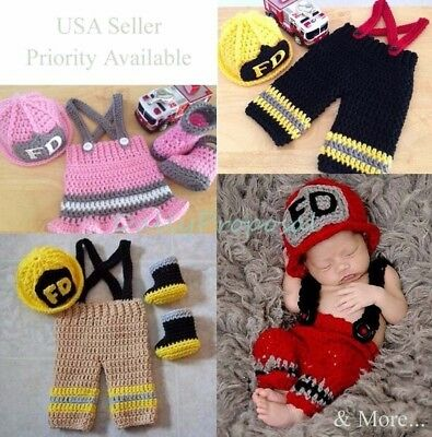 FIREMAN FIGHTER Handmade Newborn Baby Girl Boy Crochet Knit Cap Photo Prop USA