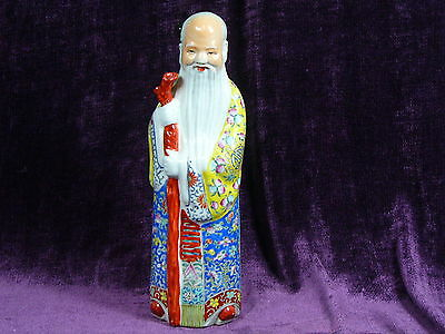 Antique Chinese famille rose porcelain statue Shoulao