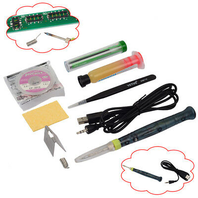 Mini Portable USB 5V 8W Electric Powered Soldering Iron Pen/Tip Touch Switch Kit