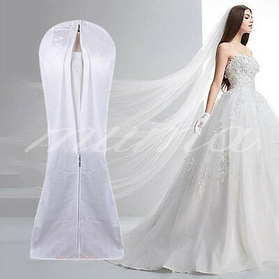 White Breathable 72'' Wedding Dress Prom Ball Gown Clothes Garment Zip Bag Cover