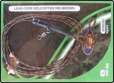 Ready Made 90cm Leadcore Helicopter Carp Fishing Rig - Brown