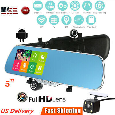 "5"" HD Car Rearview Mirror DVR Dual Lens Camera Android GPS Navigation WiFi"
