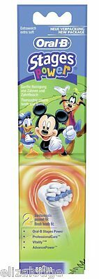 Oral B Stages Replacement Power Toothbrush Heads X 2 (Disney Mickey)