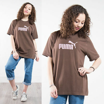 Puma Brown Crew Neck T-Shirt Top Oversize Fit 90's Nineties Casual Womens 16
