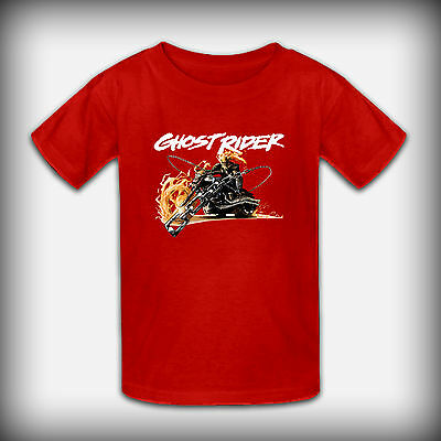 Ghost Rider Fire Chain Youth Kids Color T-Shirt Size XS-XL