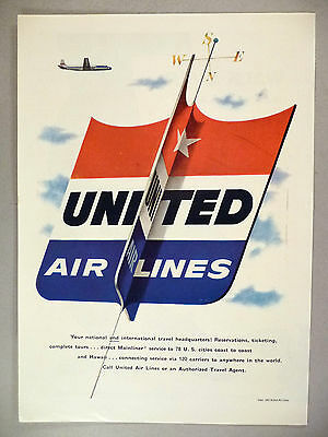 United Air Lines Airlines PRINT AD - 1953 ~~ large logo