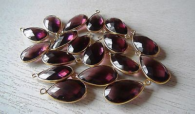 Gold plated purple quartz pear shaped connector