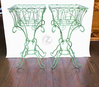 Vintage Plant Stands Wrought Iron PAIR Green Planters Wire Antique Primitive