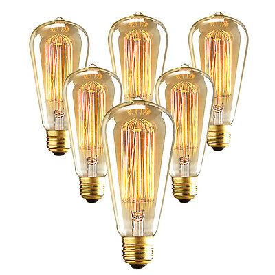 Vintage Edison E27 E26 Screw LED Filament Light Useful Bulb ST64 2 Types