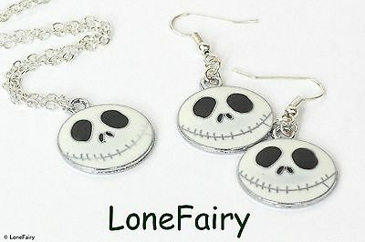 Nightmare Before Christmas Jack Skellington Necklace Earrings or Keyring