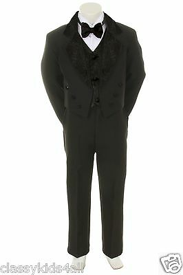 Infant Toddler Boys Tuxedo Tail Suits 5PC New Wedding Party Formal Sz S-4T 5-20