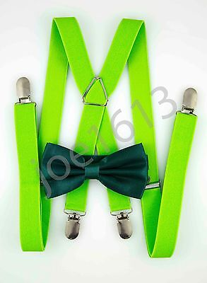 Orange Black Bow Tie Light Orange Suspender 100cm X Back 4 Clip Mens Set SXB094