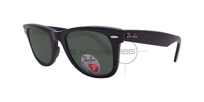Ray Ban Wayfarer RB2140 901/58 54 Black Polished / Polarized Green Classic G-15