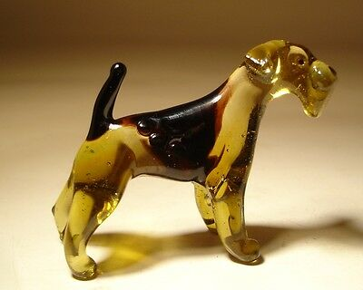 "Blown Glass ""Murano"" Art Figurine Dog AIREDALE Terrier"