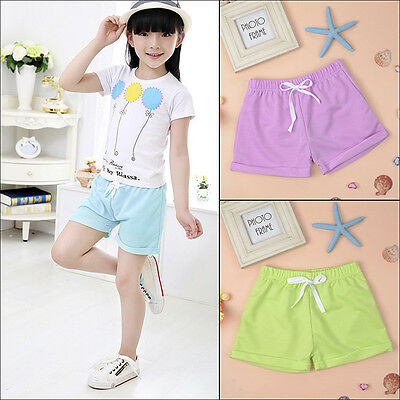 Solid Candy Color Kids Baby Girl Casual Hot Pants Summer Beach Cotton Shorts