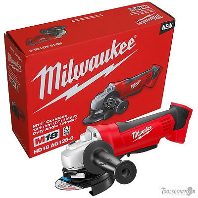"Milwaukee Hd18Ag125-0 125Mm 5"" Brushed Angle Grinder Au Stock Skin In Retail Box"
