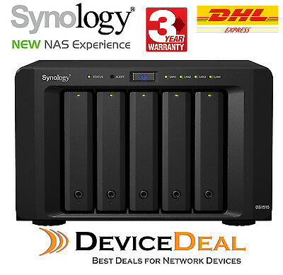Synology Diskstation DS1515 Diskless NAS - 5 Bay - Quad Core 1.4GHz CPU - 2GB