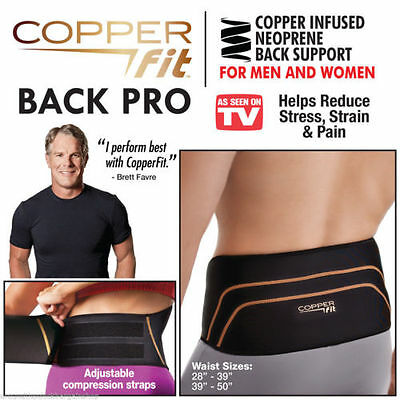 HOT Men Copper Fit Back Pro As Seen On TV Compression Lower Lumbar Support Belt