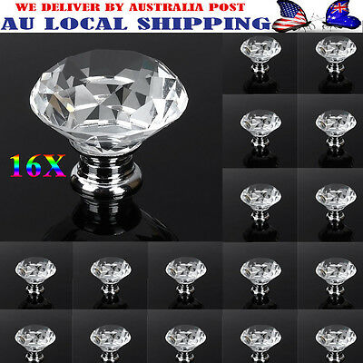 16X40mm Clear Crystal Glass Door Knobs Drawer Cabinet Kitchen Handles Pulls Deco