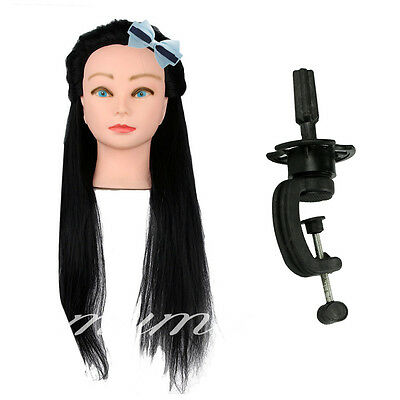 "NEW Practice Training Head Mannequin Clamp 18"" Real Human Hair Hairdressing"